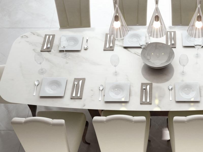 Mesa de comedor con tapa de m�rmol. Mod: ELIE