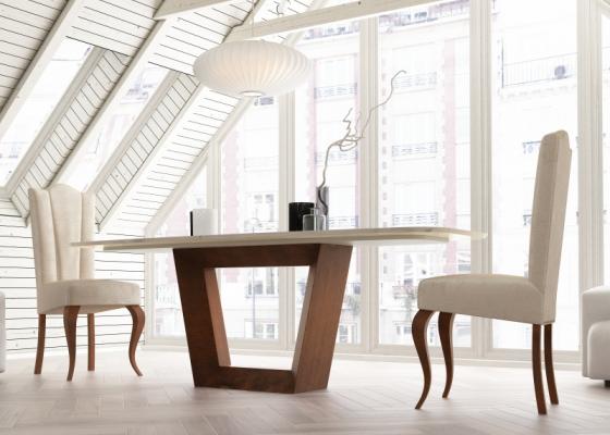 Mesa de comedor con tapa de mármol. Mod: CINNIA