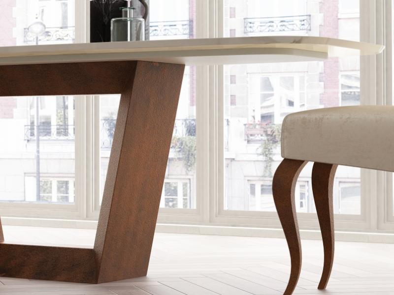Mesa de comedor con tapa de m�rmol. Mod: CINNIA