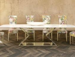 Mesa de comedor con tapa de mármol. Mod: VARENNA