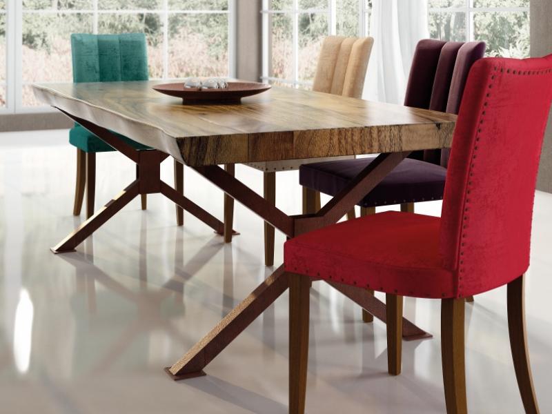 Mesa de comedor fija con tapa de madera de fresno. Mod: MURTEN