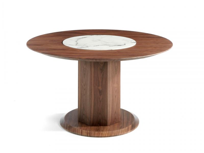 Mesa de comedor redonda con centro giratorio. Mod. CARLA