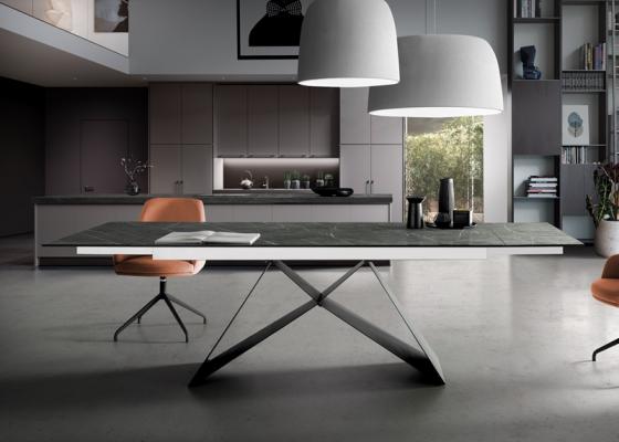 Mesa de comedor extensible con tapa cerámica .Mod: MOON CERÁMICO