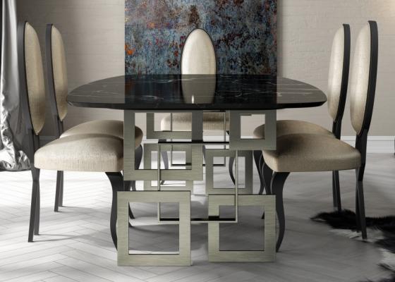 Mesa de comedor con tapa de mármol. Mod: CAMOLI