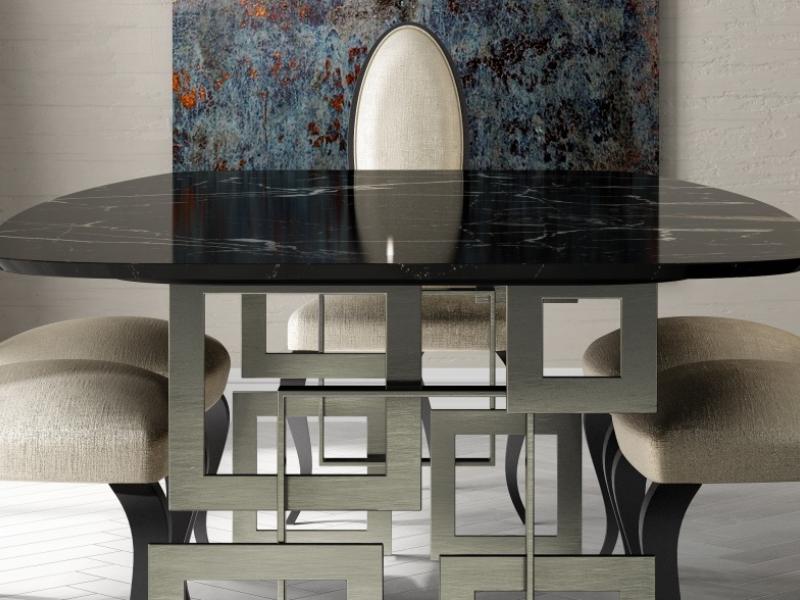 Mesa de comedor con tapa de m�rmol. Mod: CAMOLI