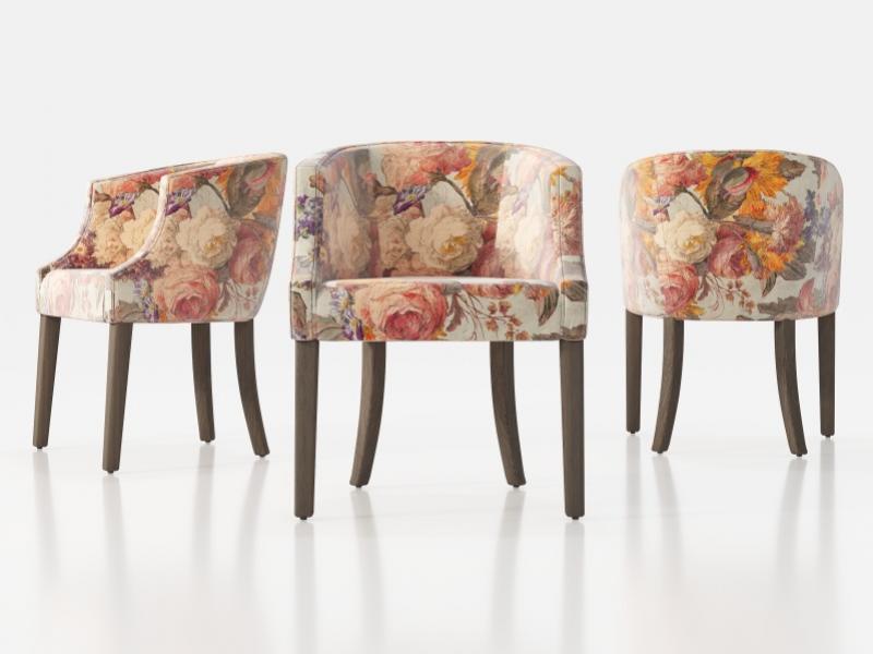 Juego de 2 sillones tapizados con patas rectas.Mod: TAURO