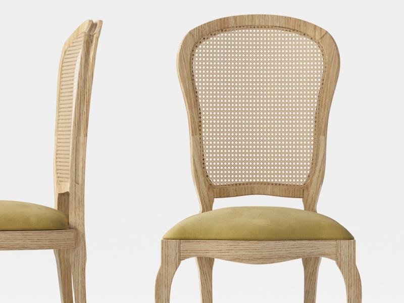 Juego de 2 sillas isabelina con respaldo en rejilla. Mod: ARIES
