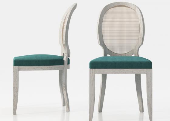 Juego de 2 sillas isabelina con respaldo en rejilla. Mod: LEO