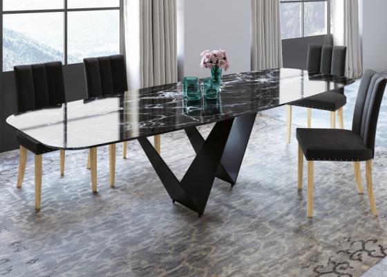 Mesa de comedor con tapa de mármol. Mod: DODOMA