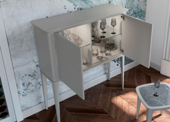 Mueble bar con estantes y luz led. Mod: CALVI