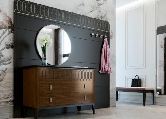 Mueble recibidor con consola y espejo. Mod: DUNIA