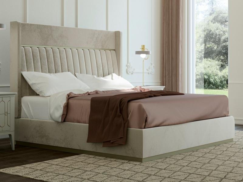 Cama completa tapizada en terciopelo con bancada tapizada. Mod: ALYA VELVET