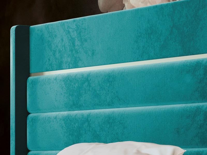 Cama completa tapizada en terciopelo con bancada de cama lacada. Mod: BLANCHE