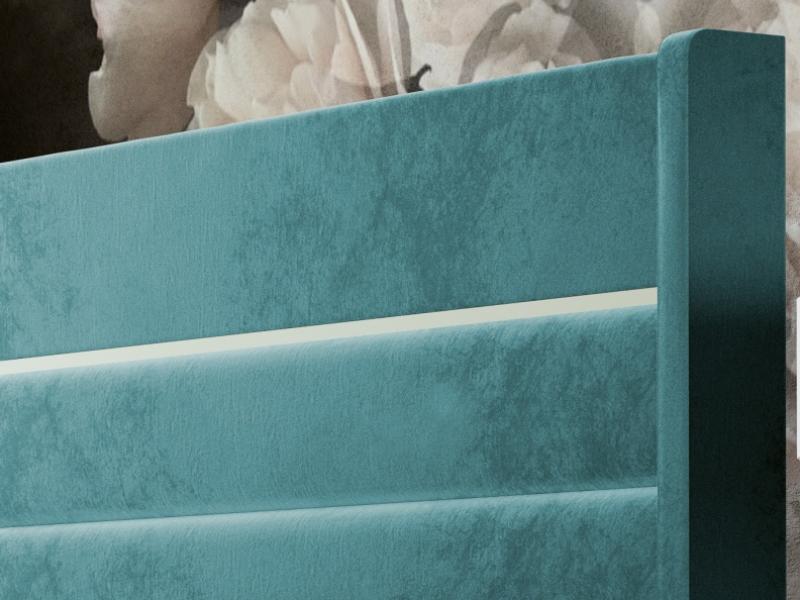 Cabecero tapizado con detalle lacado. Mod: JASMINE