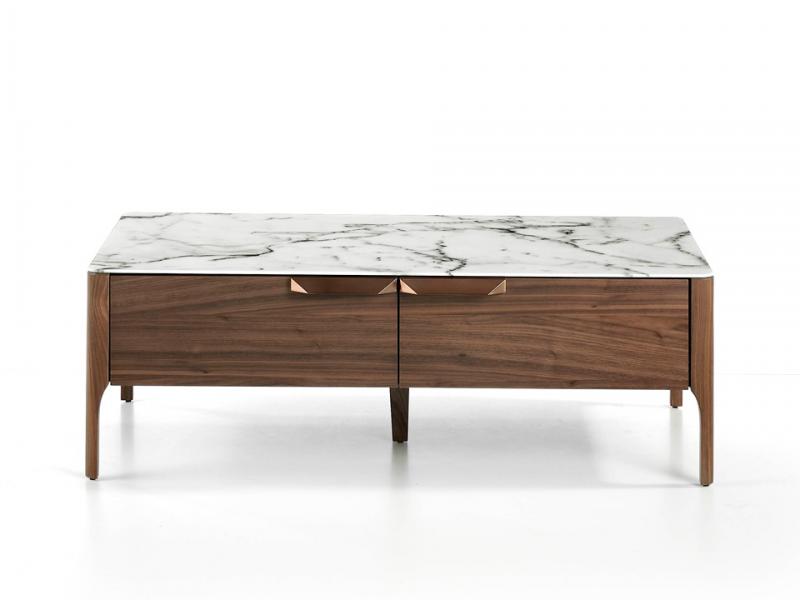 Mesa de centro de 2 cajones  con tapa en cristal marmolizado. Mod. MARTA