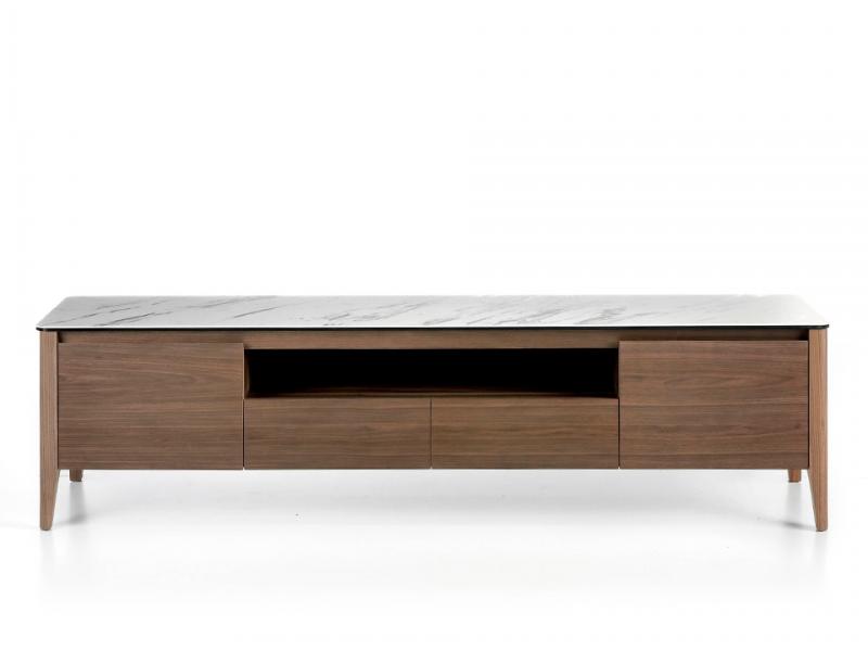 Mueble TV con tapa de m�rmol porcel�nico blanco. Mod. VALENTINO/TV