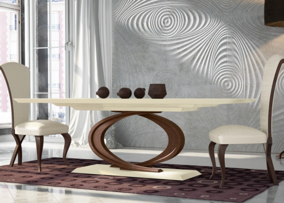 Mesa de comedor fija con tapa de madera.Mod: ROMA