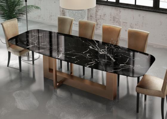 Mesa de comedor con tapa de mármol. Mod: OSTENDE MARMOL