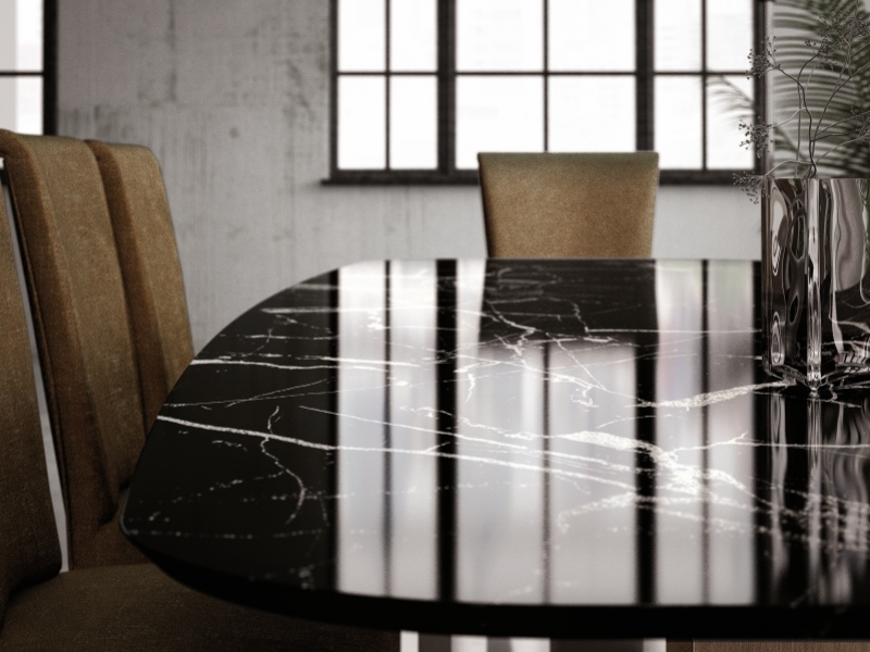 Mesa de comedor con tapa de m�rmol. Mod: OSTENDE MARMOL