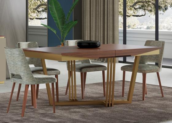 Mesa de comedor extensible con base en acero inoxidable. Mod: GAIA EXT