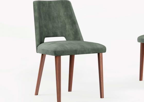 Juego de 2 sillas en nogal tapizadas. Mod: GAIA