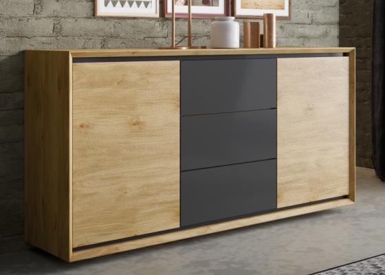 Aparador en madera de roble 2 puertas y 3 cajones: Mod: JANKO
