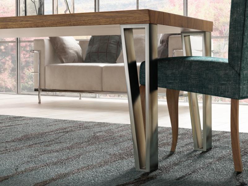 Mesa de comedor fija con tapa de madera de fresno. Mod: TRANI