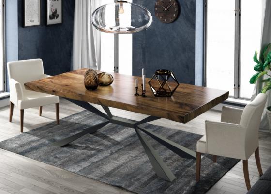 Mesa de comedor fija con tapa de madera de fresno. Mod: MOLISE