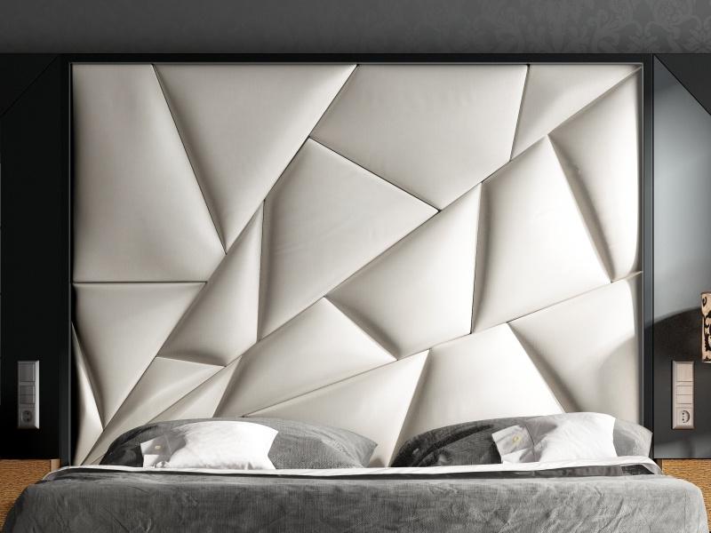 Cama completa tapizada y lacada con espejos laterales. Mod: TAHIRA