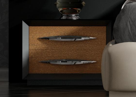 Mesitas de noche lacadas con frentes en roble y 2 cajones.Mod: BASIMA