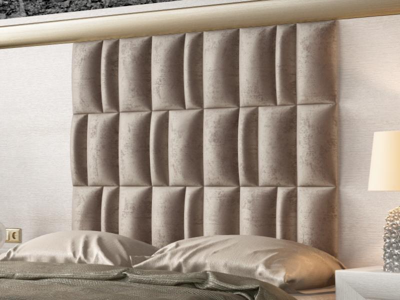 Cama completa en roble y tapizada con cabecero XXL. Mod: SIMA