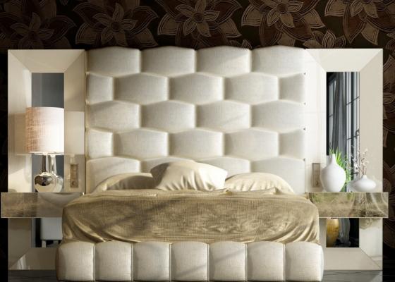 Cama completa tapizada y lacada con espejos laterales. Mod: JANAAN