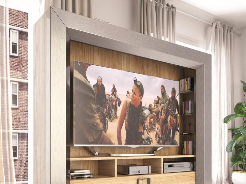 Mueble  TV  lacado y chapado en roble. Mod: KIRVI