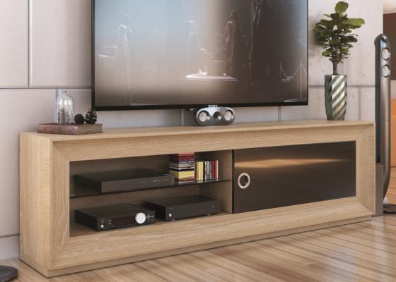 Mueble  TV  lacado y chapado en roble. Mod: MELINA