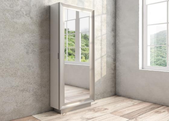 Zapatero columna con espejo y lacado. Mod: ANTARA
