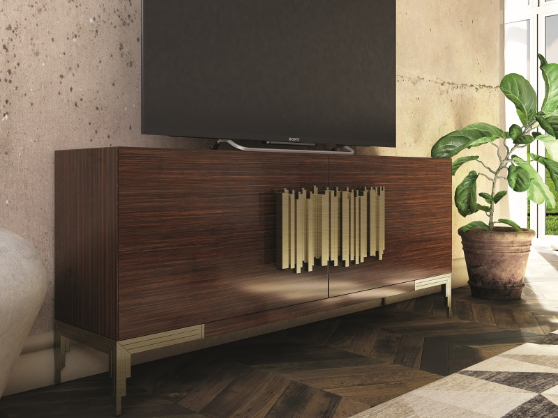 Mueble  TV  lacado y chapado en roble. Mod: CATANIA