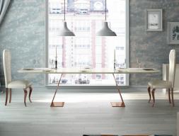 Mesa de comedor con tapa de mármol. Mod: FIYI