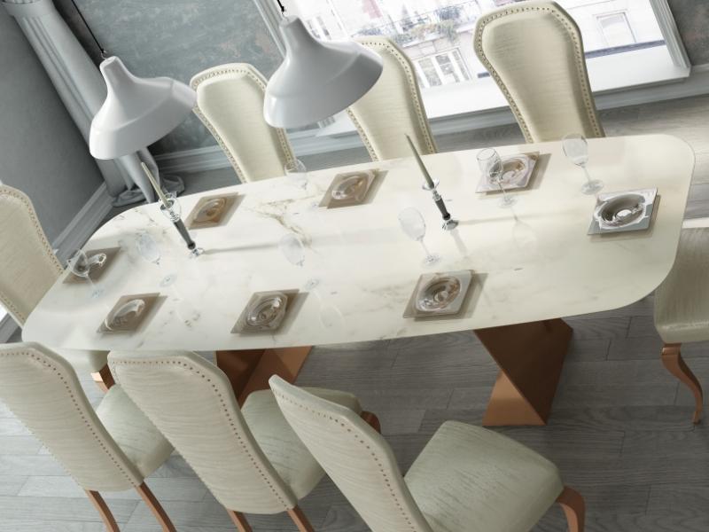 Mesa de comedor con tapa de m�rmol. Mod: FIYI