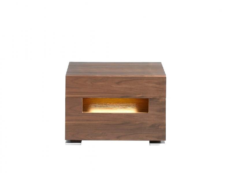 Mesitas de noche en madera chapada de nogal con patas en acero cromado.Mod: TAUREAU