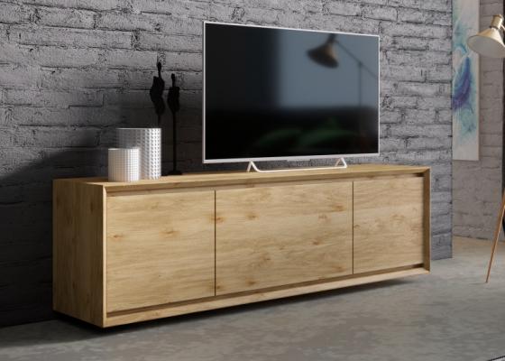 Mueble TV en madera de roble 2 puertas y 3 cajones: Mod: JANKO TV