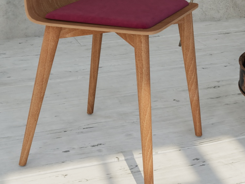 Juego de 2 sillas en madera con coj�n de asiento. Mod. DUNA COJ�N