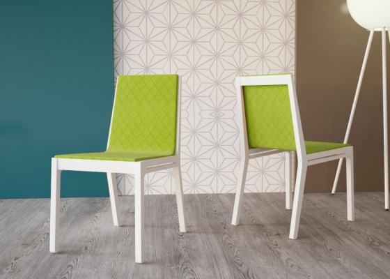 Juego de 2 sillas en madera vista tapizadas Mod. NANCY