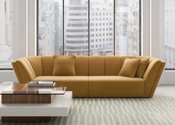 Sofá de diseño tapizado en terciopelo.Mod: RAYZA