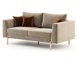 Sofá de diseño tapizado en terciopelo con bases en acero inoxidable. Mod: ESTELLE-2