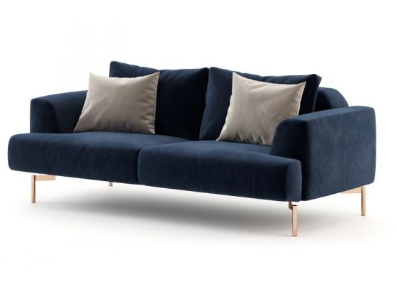 Sofá de diseño tapizado en terciopelo con bases en acero inoxidable. Mod: CELINE-2
