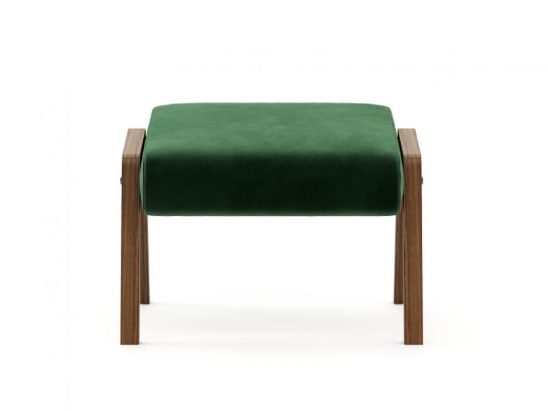 Pouff tapizado con base en madera de nogal Mod: COLETTE
