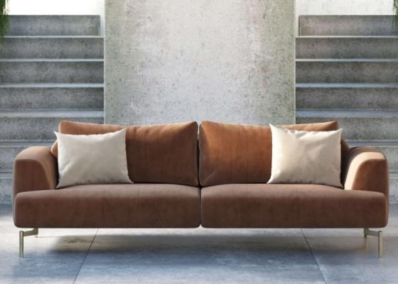 Sofá de diseño tapizado en terciopelo con bases en acero inoxidable. Mod: CELINE-3