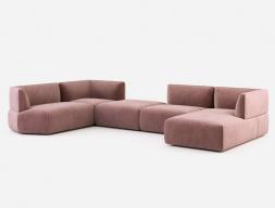 Sofá modular de diseño tapizado en terciopelo. Mod: TESTACCIO