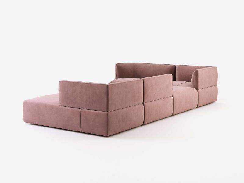 Sof� modular de dise�o tapizado en terciopelo. Mod: TESTACCIO