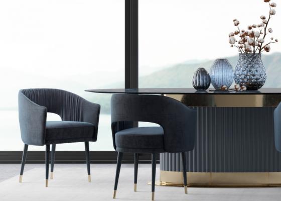 Sillas de diseño tapizadas en terciopelo-JUEGO DE 2 SILLAS-. Mod: MONSIEUR